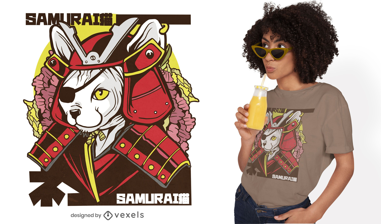 Samurai Japanese cat t-shirt design