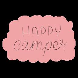 Feliz camper letras escritas a mano
