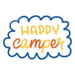 Happy camper colorful lettering