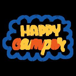 Letras coloridas de campista feliz