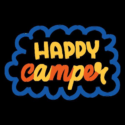 Feliz camper letras coloridas