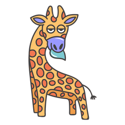 Giraffe eating cartoon