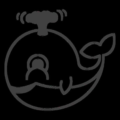 Feliz trazo lleno de ballena