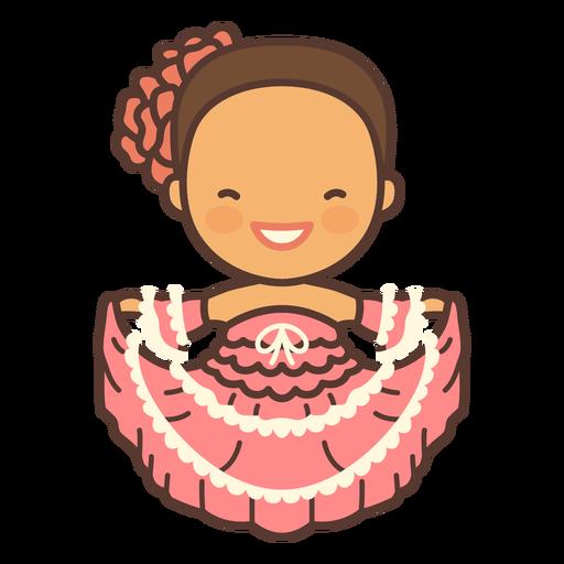 Vestido niña colombiana plano rosa