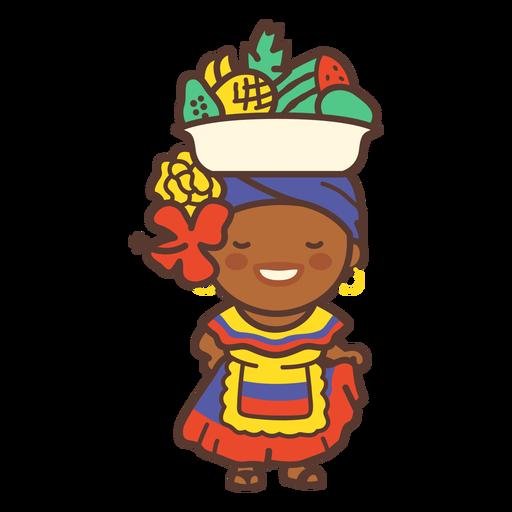Dama de fruta colombiana plana