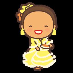 Vestido niña colombiana plano amarillo