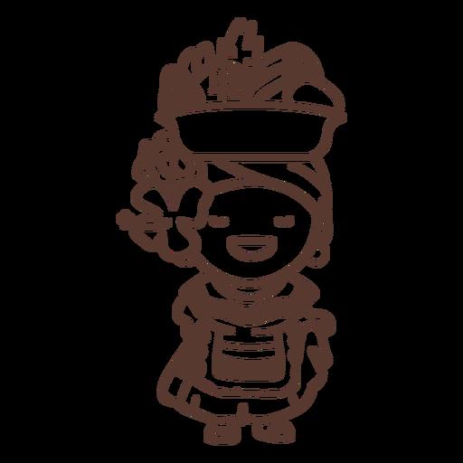 Dama de frutas colombiana llena de trazo