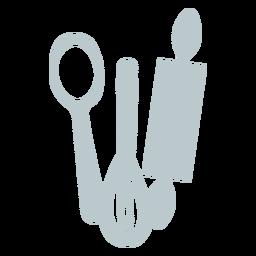 Utensílios de cozinha plano cinza