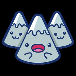 Dibujos animados de montañas emocionados