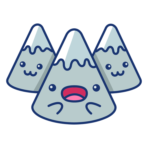 Excited mountains cartoon