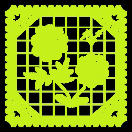 Diseño floral papel picado
