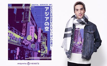 Asiatisches Straßen-Dampfwellen-T-Shirt-Design