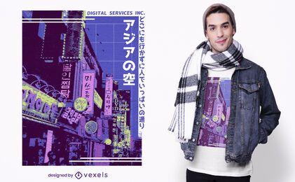 Design de camiseta asiática de rua vaporwave