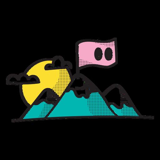 Doodle de montaña y bandera