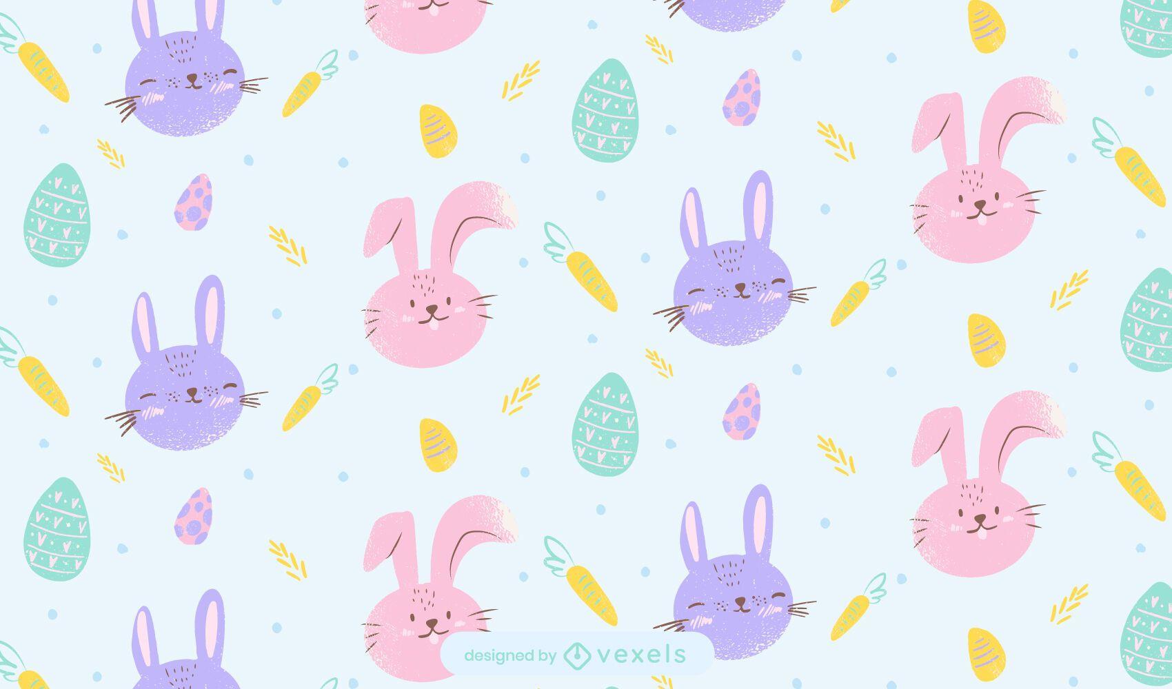 Desenho de padrão de coelhinhos da Páscoa fofos
