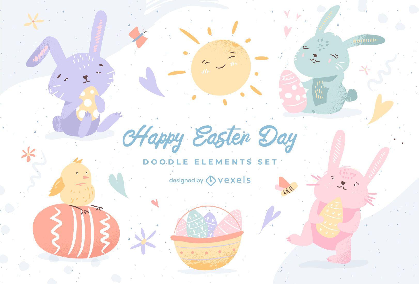 Easter cute elements doodle set