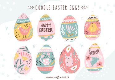 Conjunto de ovo de Páscoa Doodle