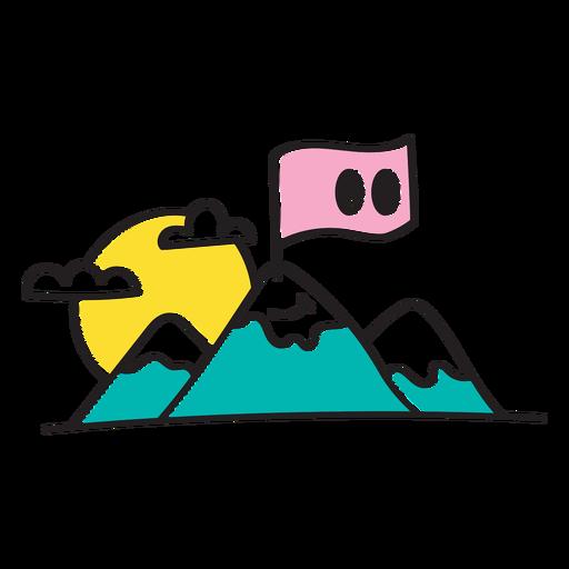 Dibujos animados de montaña y bandera