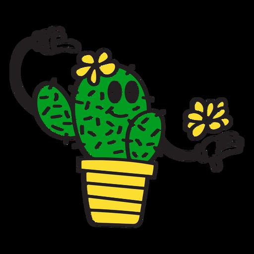Bonito dibujo animado de cactus