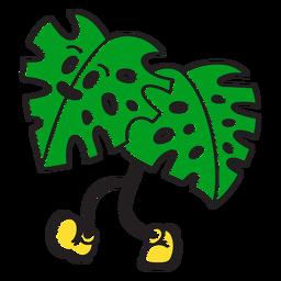 Walking palm leaf cartoon