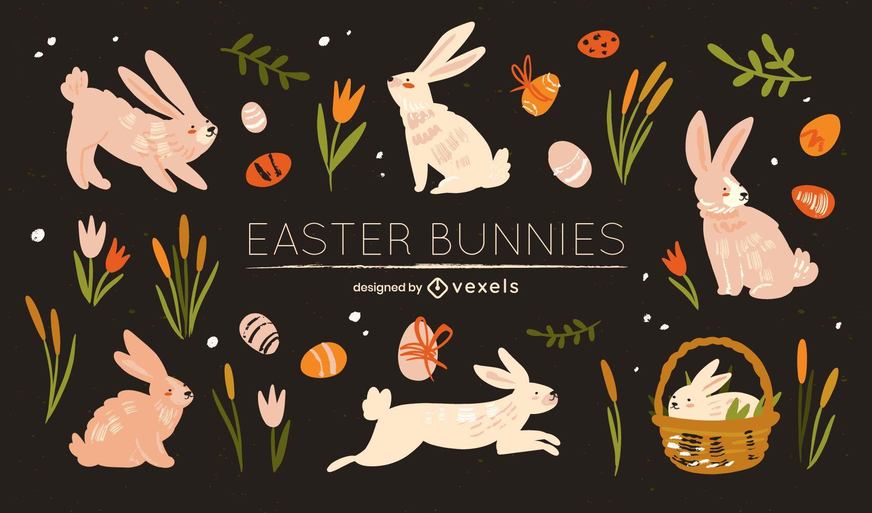Easter bunny flat set