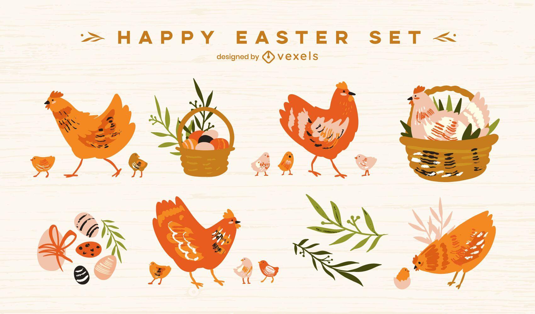 Happy Easter flat chicken set