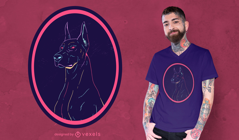 Neon dobermann t-shirt design