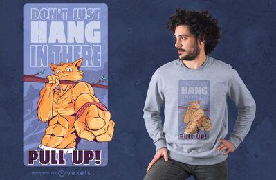 Diseño de camiseta de gato culturista