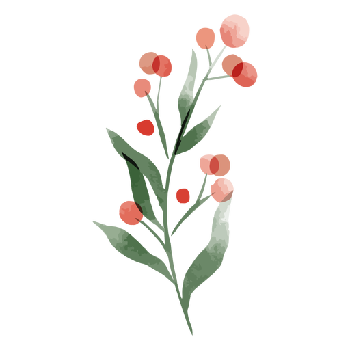Red round flower watercolor Transparent PNG