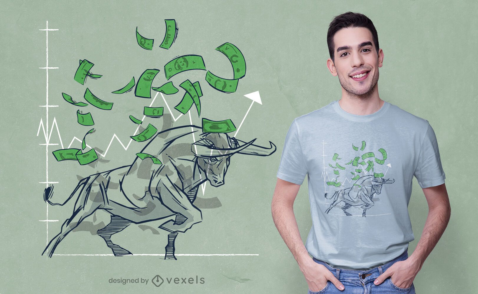 Diseño de camiseta Bull Stock Market.