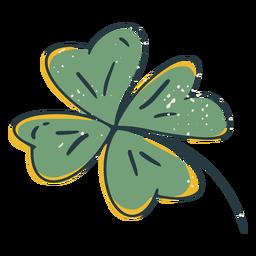 Trazo de color de trébol de cuatro hojas