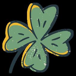 Trazo de color de trébol de cuatro hojas de la suerte