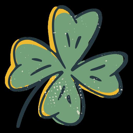 Lucky four leaf clover color-stroke