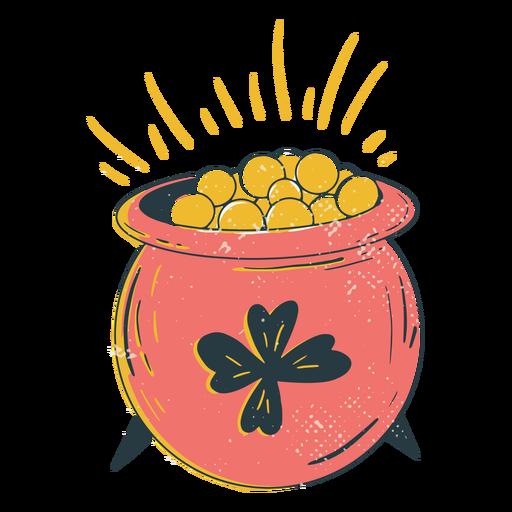 Lucky pot of gold color-stroke