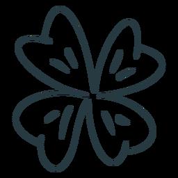 Traço tradicional de trevo de quatro folhas