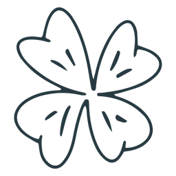 Traditional four leaf clover stroke