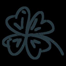 Traço de trevo de quatro folhas da sorte