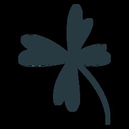 Silueta de trébol de cuatro hojas de la suerte