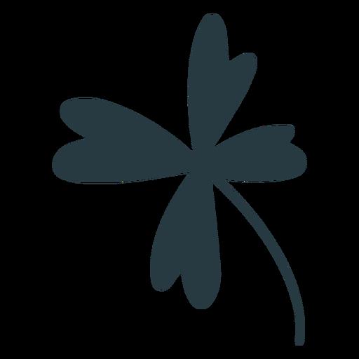 Silueta de tr?bol de cuatro hojas de la suerte