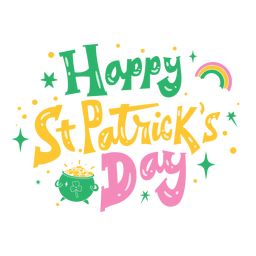 Happy st patrick's day colorful lettering