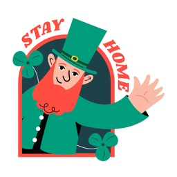 Stay home st patricks badge