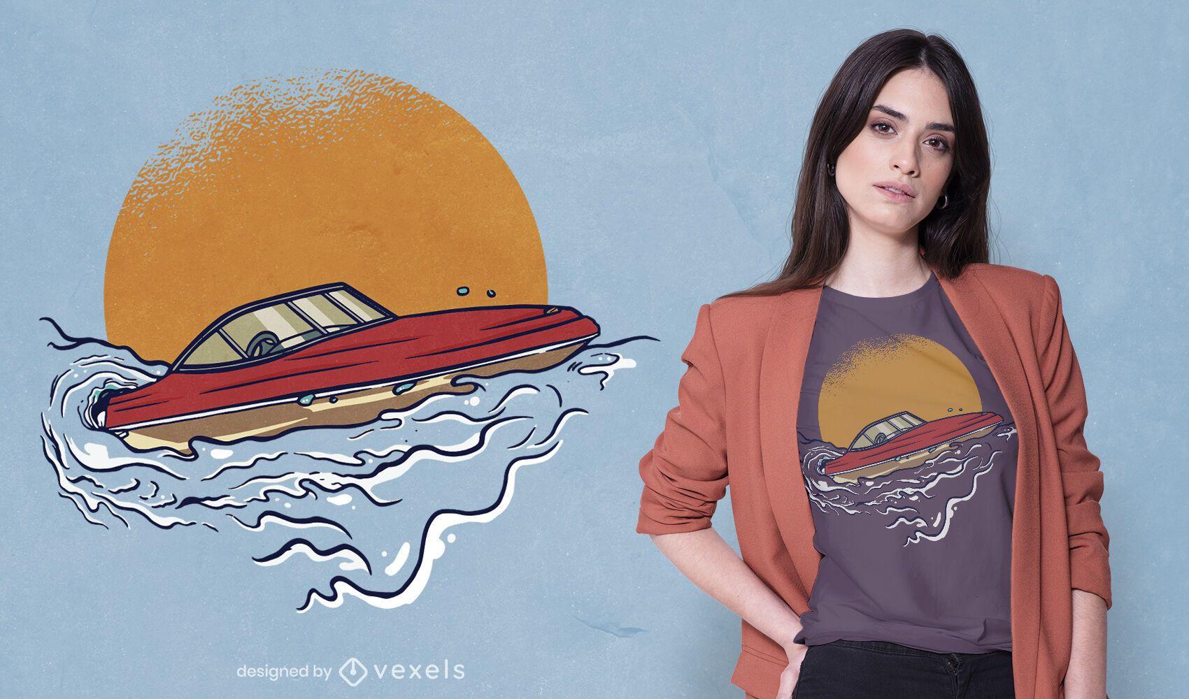 Sport motorboat t-shirt design