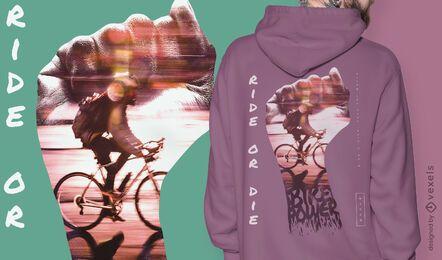 Design de camiseta psd bicicleta de mão