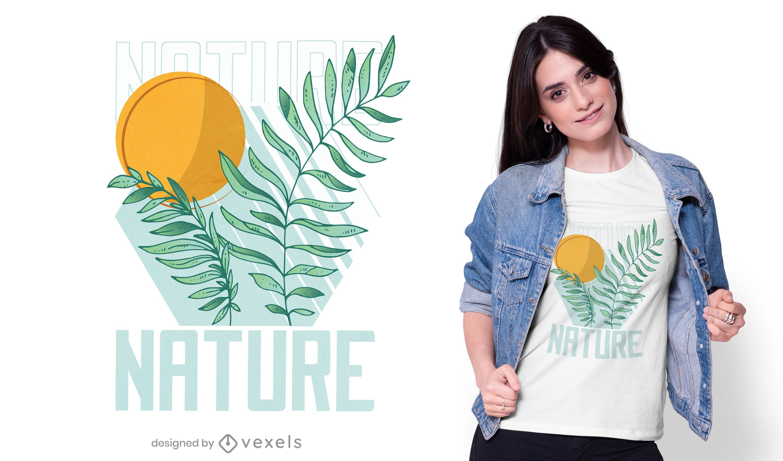 Diseño de camiseta de ramitas de naturaleza.