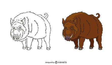 Handgezeichnetes Wildschweinset