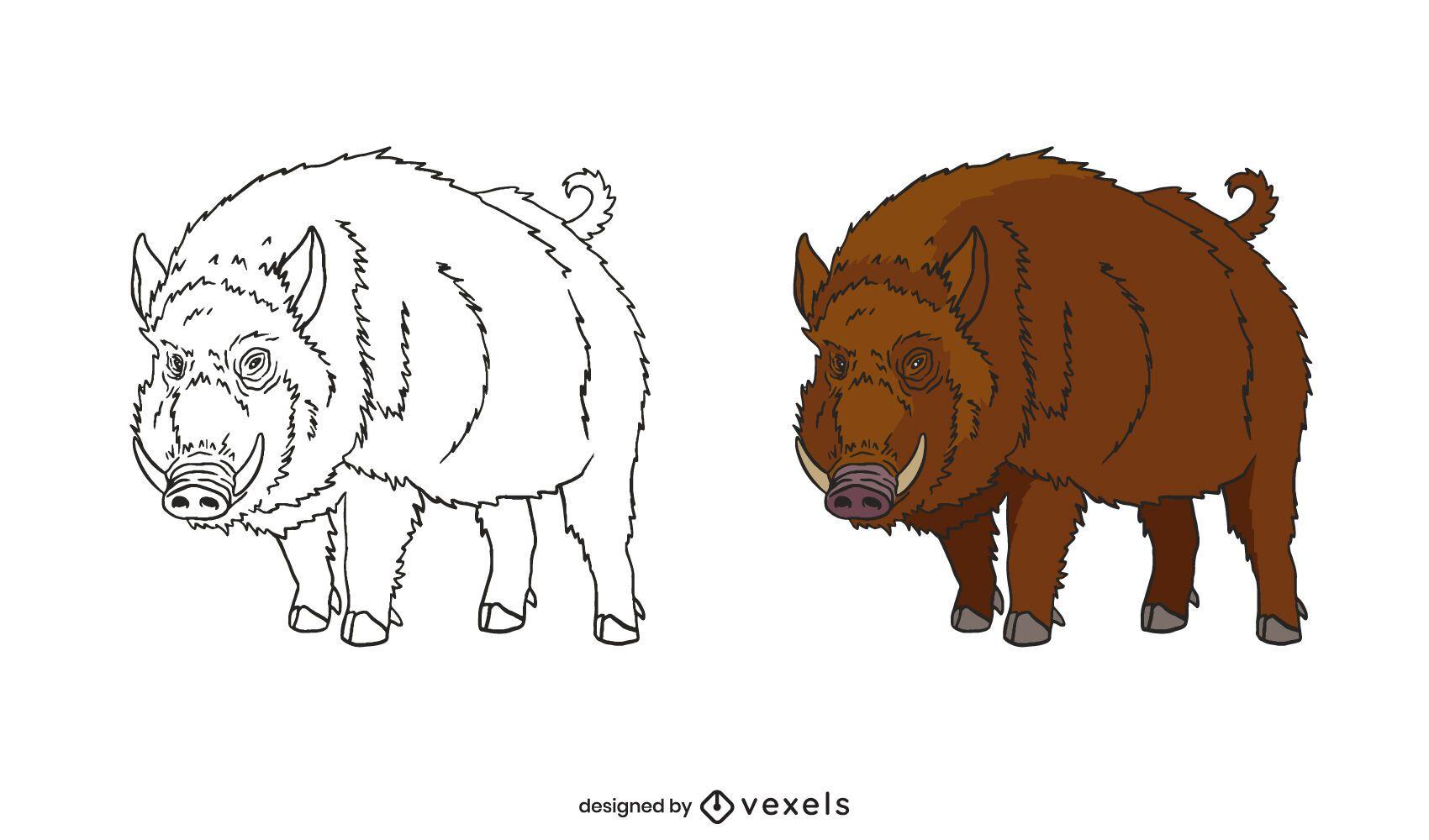 Wild boar hand-drawn set