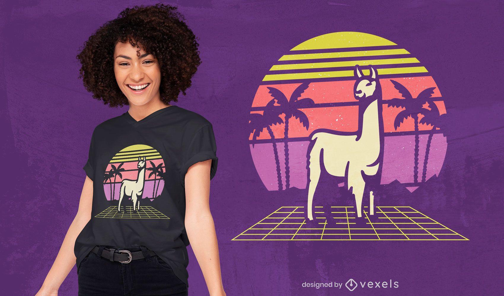 Diseño de camiseta retro llama