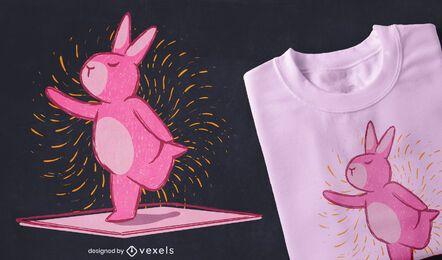 Design de t-shirt de coelho para ioga