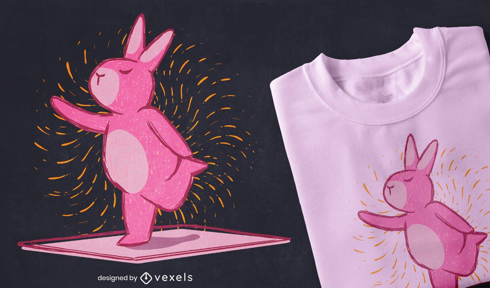 Diseño de camiseta de conejito de yoga