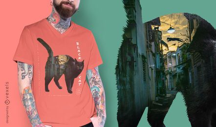 Black cat city psd t-shirt design